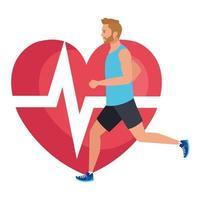 man kör med hjärtpuls på bakgrund, manlig idrottsman med kardiologihjärta vektor