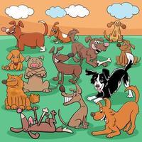 Comicfiguren Hunde und Welpen Comicfiguren Gruppe vektor