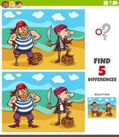 Unterschiede pädagogische Aufgabe für Kinder mit Piraten und Schätzen vektor