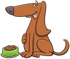 tecknad hund djur karaktär med sin mat vektor