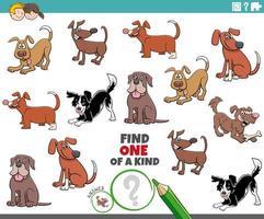 en unik uppgift för barn med hundar och valpar vektor