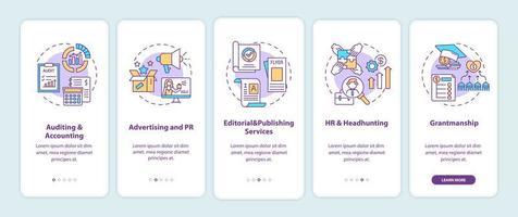 Top-Unternehmensberatung Onboarding Mobile App-Seitenbildschirm mit Konzepten vektor