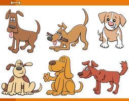 hundar och valpar komiska djur teckenuppsättning vektor