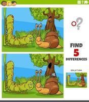 Unterschiede pädagogische Aufgabe für Kinder mit Raupe, Schnecke und Fliege vektor