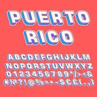 Puerto Rico vintage 3d vektor alfabetuppsättning