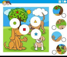 Match Pieces Aufgabe mit Comic-Hundefiguren vektor