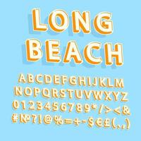 Long Beach Vintage 3D Vektor Alphabet Set