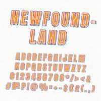 newfoundland vintage 3d alfabetuppsättning vektor