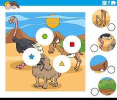 matcha bitar uppgift med tecknade djur karaktärer vektor