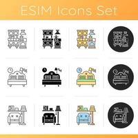 hem och levande ikoner set vektor