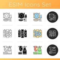hem och levande möbler ikoner set vektor