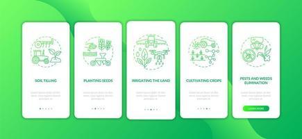Landwirtschaftsmaschinen Aufgaben Onboarding Mobile App Seite Bildschirm mit Konzepten