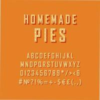 hausgemachte Kuchen Vintage 3d Vektor Alphabet Set