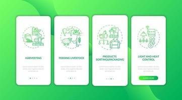Landwirtschaftsmaschinen Typen Onboarding Mobile App Seite Bildschirm mit Konzepten