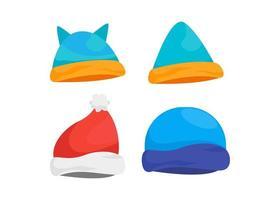 vinter hatt ikon designuppsättning vektor