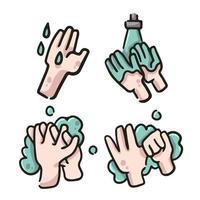 tvätta händerna med tvålillustration