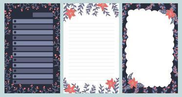 jul anteckningsbok anteckningsbok vykort mönster söt klistermärke design vektor