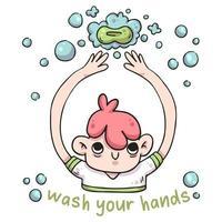 tvätta händerna med tvålillustration vektor