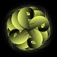 gelbe Spirograph Kreisverzierung vektor