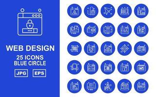 25 Premium Web Design und Entwicklung Blue Circle Icon Pack vektor
