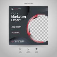 mall för digital marknadsföring sociala medier vektor