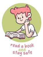 Lesen Sie ein Buch und bleiben Sie sicher Coronavirus Illustration