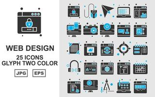 25 Premium-Web-Design- und Entwicklungs-Glyphen-Zweifarben-Symbolpaket vektor