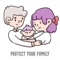 Schützen Sie Ihre Familienillustration für covid-19