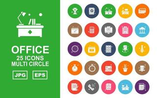 25 Premium Office Multi Circle Icon Pack vektor