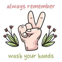Waschen Sie Ihre Hände mit Seifenillustration vektor