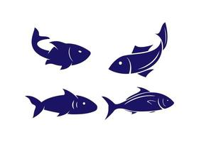 Fischikonen-Entwurfsschablonenvektor isolierte Illustration vektor