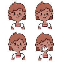 tecknad annorlunda typ av känslor som söt tecknad illustration vektor