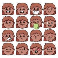 Cartoon verschiedene Art von Emotion Set niedlichen Cartoon Illustration vektor