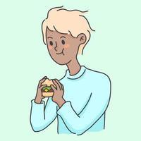 Junge, der Burger Junkfood niedliche Leute Illustration isst vektor