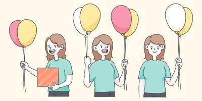 grattis på födelsedagen flicka håller ballonger en söt människor illustration vektor