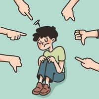 depressiver Junge trauriges Versagen keine Inspiration niedliche Karikaturillustration enttäuscht vektor