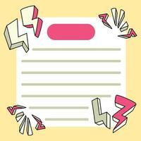 anteckningsblock åska design tillbaka till skolan för att göra listan dagliga anteckningar vektor
