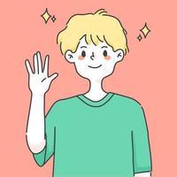 pojke viftande hand hälsning söta människor illustration
