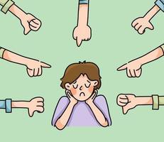 deprimerad flicka sorgligt misslyckande ingen inspiration söt tecknad illustration besviken vektor
