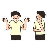 niedlicher Charakter Kerl, der an Emotion posiert, setzt Denkkonzept vektor