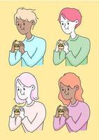 människor som äter en hamburgare, skräpmatillustration