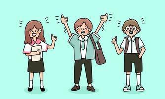 Kinder glücklich zurück in die Schule Studie Zeichnung Illustration