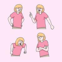 kvinna arg frustrerad illustrationuppsättning vektor