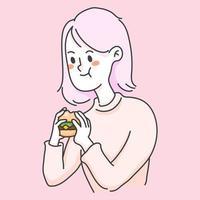 flicka äter burger junkfood söta människor illustration
