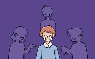 depressiver Junge trauriger Misserfolg keine Inspiration niedliche Cartoonillustration enttäuscht aufhören Mobbing vektor