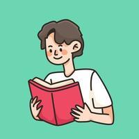 läser en bok söt tecknad illustration vektor