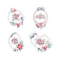 Vektorsatz Sammlung von handgezeichneten Weihnachtskränzen mit Weihnachtstext. Tannenzweige, rote Beeren, Blätter und andere Elemente. runder Rahmen für Winterdesign Winterkarte, Plakat, Banner vektor