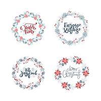Vektorsatz Sammlung von handgezeichneten Weihnachtskränzen mit Weihnachtstext. Tannenzweige, rote Beeren, Blätter und andere Elemente. runder Rahmen für Winterdesign-Weihnachtskarte, Plakat, Fahne vektor