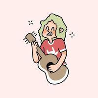 Junge spielt Gitarrenmusik niedliche Karikaturmusikerzeichnung