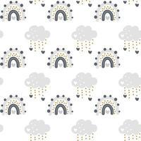 niedlicher Vektorregenbogen mit nahtlosem Muster der Wolken im skandinavischen Stil lokalisiert auf weißem Hintergrund für Kinder. handgezeichnete Karikaturillustration für Plakate, Drucke, Karten, Stoff, Kinderbücher